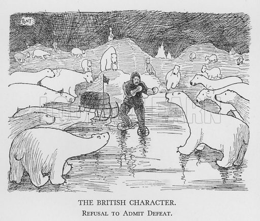 The British Character, Refusal to Admit Defeat. Illustration for The British Character studied and revealed by Pont (ie Graham Laidler) (Collins, 1938).