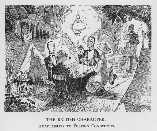 The British Character, Adaptability to Foreign Conditions. Illustration for The British Character studied and revealed by Pont (ie Graham Laidler) (Collins, 1938).