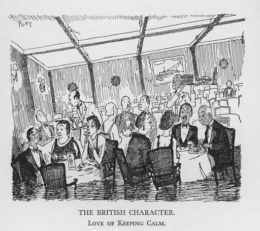 The British Character, Love of Keeping Calm. Illustration for The British Character studied and revealed by Pont (ie Graham Laidler) (Collins, 1938).