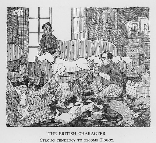 The British Character, Strong tendency to become Doggy. Illustration for The British Character studied and revealed by Pont (ie Graham Laidler) (Collins, 1938).
