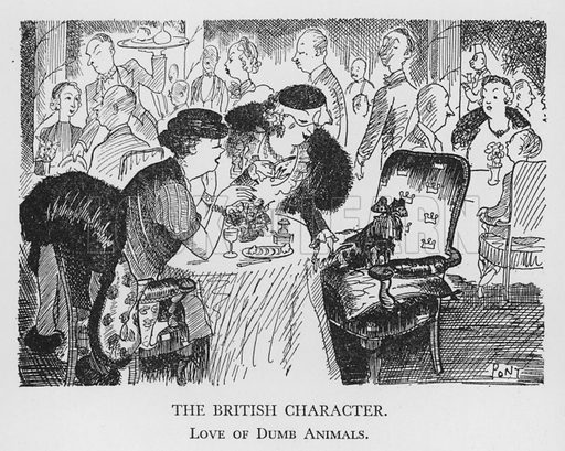 The British Character, Love of Dumb Animals. Illustration for The British Character studied and revealed by Pont (ie Graham Laidler) (Collins, 1938).