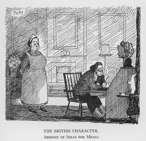 The British Character, Absence of Ideas for Meals. Illustration for The British Character studied and revealed by Pont (ie Graham Laidler) (Collins, 1938).