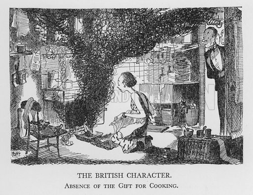 The British Character, Absence of the Gift for Cooking. Illustration for The British Character studied and revealed by Pont (ie Graham Laidler) (Collins, 1938).