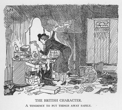 The British Character, A tendency to put things away safely. Illustration for The British Character studied and revealed by Pont (ie Graham Laidler) (Collins, 1938).