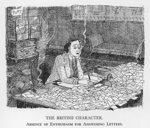 The British Character, Absence of Enthusiasm for Answering Letters. Illustration for The British Character studied and revealed by Pont (ie Graham Laidler) (Collins, 1938).