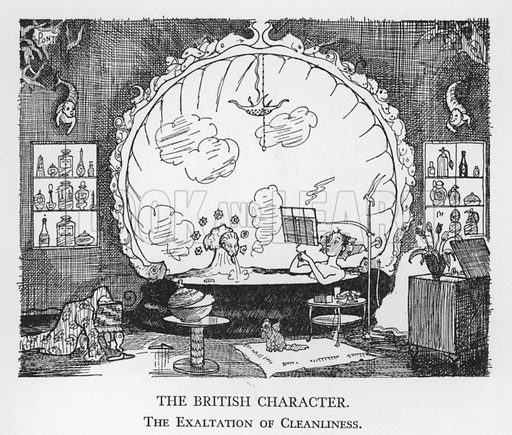 The British Character, The Exaltation of Cleanliness. Illustration for The British Character studied and revealed by Pont (ie Graham Laidler) (Collins, 1938).