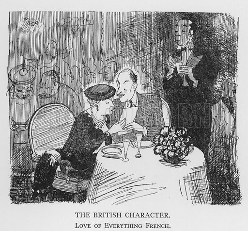 The British Character, Love of Everything French. Illustration for The British Character studied and revealed by Pont (ie Graham Laidler) (Collins, 1938).
