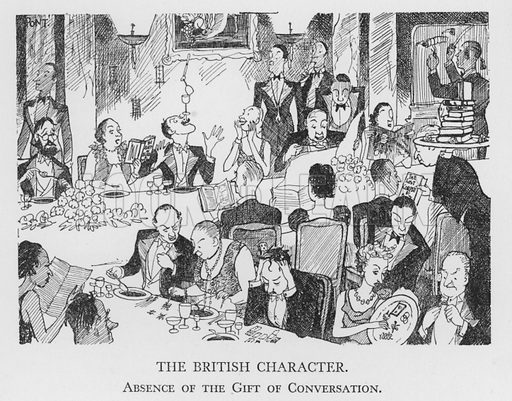 The British Character, Absence of the Gift of Conversation. Illustration for The British Character studied and revealed by Pont (ie Graham Laidler) (Collins, 1938).