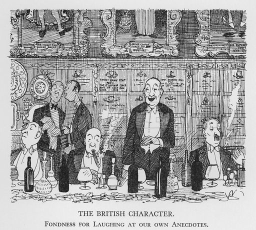 The British Character, Fondness for Laughing at our own Anecdotes. Illustration for The British Character studied and revealed by Pont (ie Graham Laidler) (Collins, 1938).
