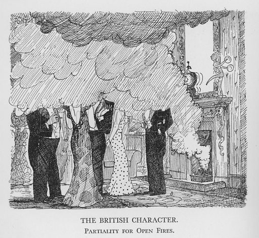The British Character, Partiality for Open Fires. Illustration for The British Character studied and revealed by Pont (ie Graham Laidler) (Collins, 1938).