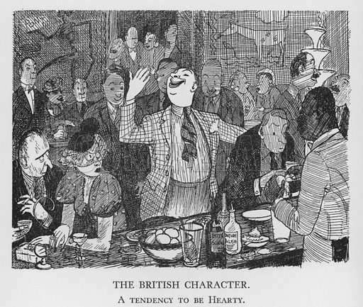 The British Character, A tendency to be Hearty. Illustration for The British Character studied and revealed by Pont (ie Graham Laidler) (Collins, 1938).