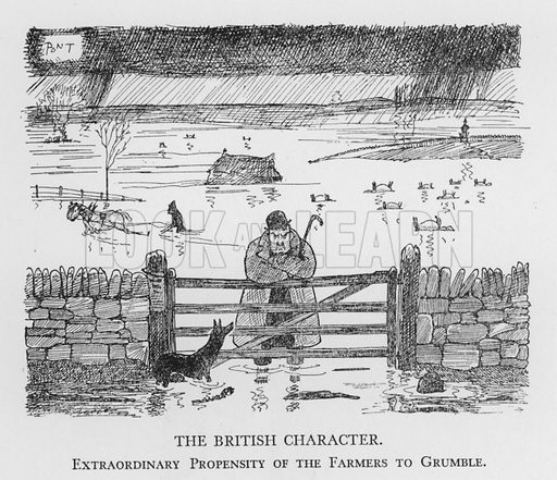 The British Character, Extraordinary Propensity of the Farmers to Grumble. Illustration for The British Character studied and revealed by Pont (ie Graham Laidler) (Collins, 1938).
