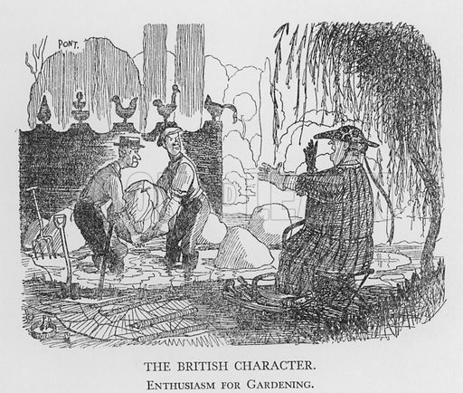 The British Character, Enthusiasm for Gardening. Illustration for The British Character studied and revealed by Pont (ie Graham Laidler) (Collins, 1938).
