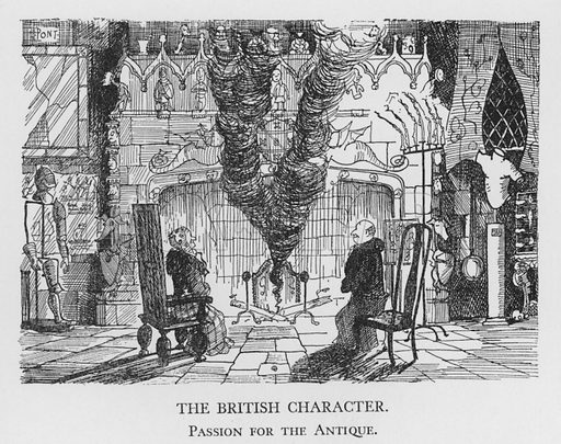 The British Character, Passion for the Antique. Illustration for The British Character studied and revealed by Pont (ie Graham Laidler) (Collins, 1938).