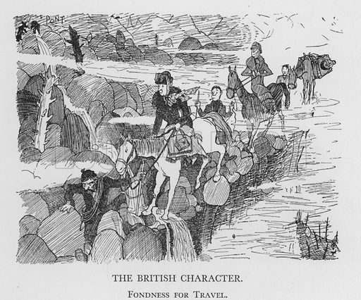 The British Character, Fondness for Travel. Illustration for The British Character studied and revealed by Pont (ie Graham Laidler) (Collins, 1938).