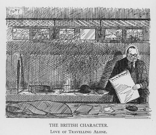 The British Character, Love of Travelling Alone. Illustration for The British Character studied and revealed by Pont (ie Graham Laidler) (Collins, 1938).