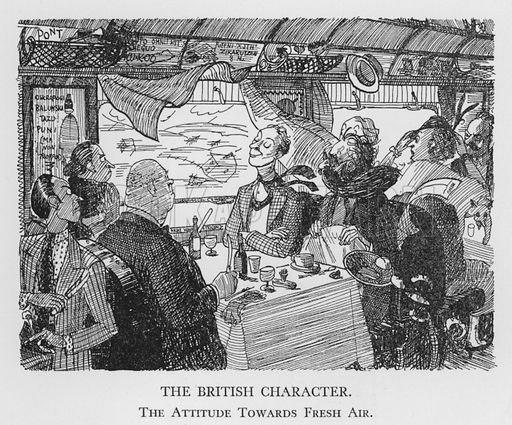 The British Character, Attitude Towards Fresh Air. Illustration for The British Character studied and revealed by Pont (ie Graham Laidler) (Collins, 1938).