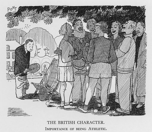 The British Character, Importance of being Athletic. Illustration for The British Character studied and revealed by Pont (ie Graham Laidler) (Collins, 1938).