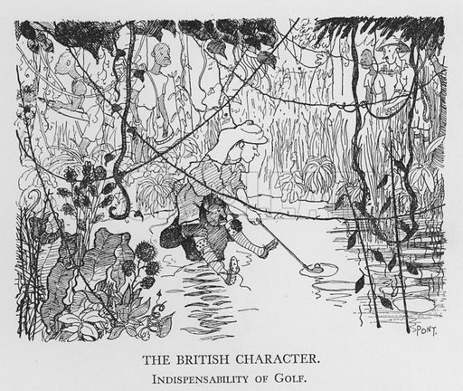 The British Character, Indispensability of Golf. Illustration for The British Character studied and revealed by Pont (ie Graham Laidler) (Collins, 1938).