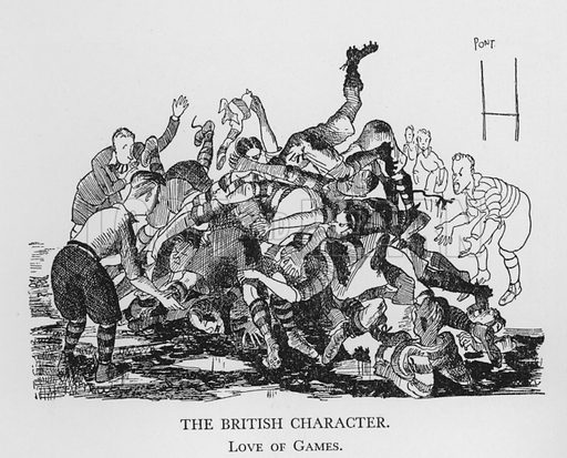 The British Character, Love of Games. Illustration for The British Character studied and revealed by Pont (ie Graham Laidler) (Collins, 1938).