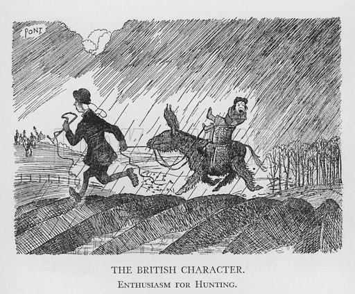 The British Character, Enthusiasm for Hunting. Illustration for The British Character studied and revealed by Pont (ie Graham Laidler) (Collins, 1938).