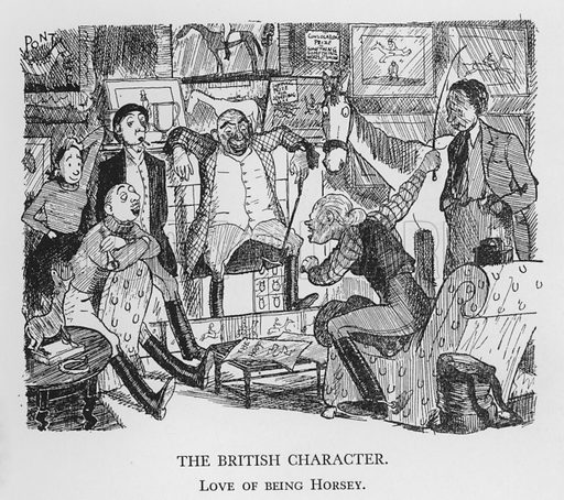 The British Character, Love of being Horsey. Illustration for The British Character studied and revealed by Pont (ie Graham Laidler) (Collins, 1938).