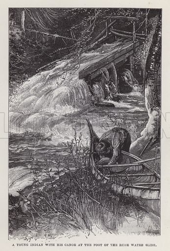 A young Indian with his canoe at the foot of the rude water slide. Illustration for By Canoe and Dog-Train among the Cree and Salteaux Indians by Egerton Ryerson Young (Charles H Kelly, 1890).