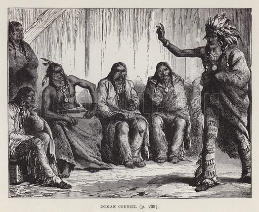 Indian Council. Illustration for By Canoe and Dog-Train among the Cree and Salteaux Indians by Egerton Ryerson Young (Charles H Kelly, 1890).