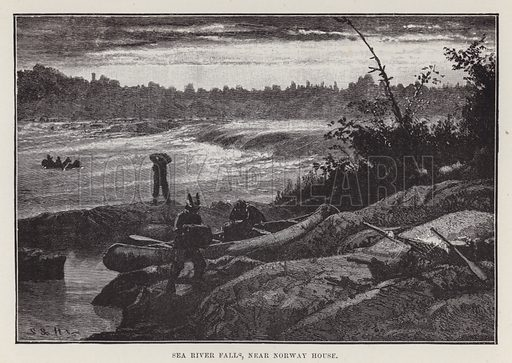 Sea river falls, near Norway House. Illustration for By Canoe and Dog-Train among the Cree and Salteaux Indians by Egerton Ryerson Young (Charles H Kelly, 1890).