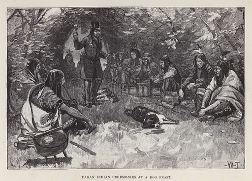 Pagan Indian ceremonies at a dog feast. Illustration for By Canoe and Dog-Train among the Cree and Salteaux Indians by Egerton Ryerson Young (Charles H Kelly, 1890).
