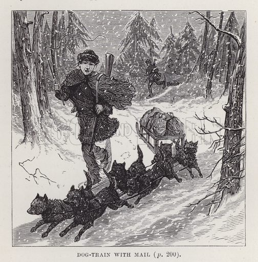 Dog-train with mail. Illustration for By Canoe and Dog-Train among the Cree and Salteaux Indians by Egerton Ryerson Young (Charles H Kelly, 1890).
