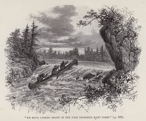 """""""We have looked death in the face together many times."""" Illustration for By Canoe and Dog-Train among the Cree and Salteaux Indians by Egerton Ryerson Young (Charles H Kelly, 1890)."""