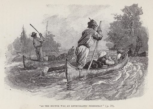 """As the doctor was an enthusiastic fisherman."" Illustration for By Canoe and Dog-Train among the Cree and Salteaux Indians by Egerton Ryerson Young (Charles H Kelly, 1890)."