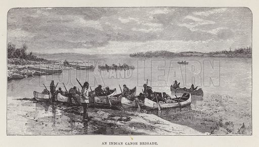 An Indian canoe brigade. Illustration for By Canoe and Dog-Train among the Cree and Salteaux Indians by Egerton Ryerson Young (Charles H Kelly, 1890).