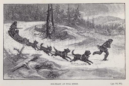 Dog-train at full speed. Illustration for By Canoe and Dog-Train among the Cree and Salteaux Indians by Egerton Ryerson Young (Charles H Kelly, 1890).