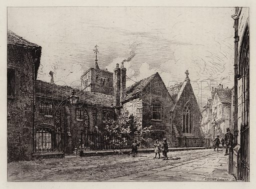 Corpus Christi College and the Tower of St Benet's. Illustration for Cambridge by J W Clark (Seeley Jackson and Halliday, 1881).