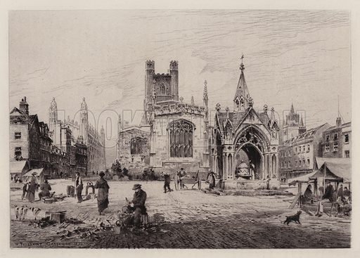 Market Hill. Illustration for Cambridge by J W Clark (Seeley Jackson and Halliday, 1881).