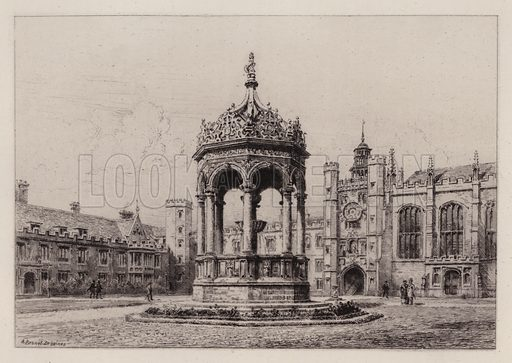 The Great Court of Trinity College. Illustration for Cambridge by J W Clark (Seeley Jackson and Halliday, 1881).