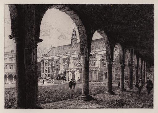 Neville's Court, Trinity College. Illustration for Cambridge by J W Clark (Seeley Jackson and Halliday, 1881).