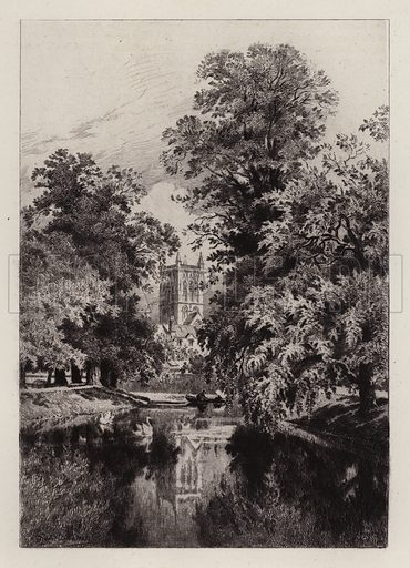 The Cam near Trinity College, with the Tower of St John's Chapel. Illustration for Cambridge by J W Clark (Seeley Jackson and Halliday, 1881).
