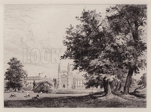 King's College Chapel, from the River. Illustration for Cambridge by J W Clark (Seeley Jackson and Halliday, 1881).