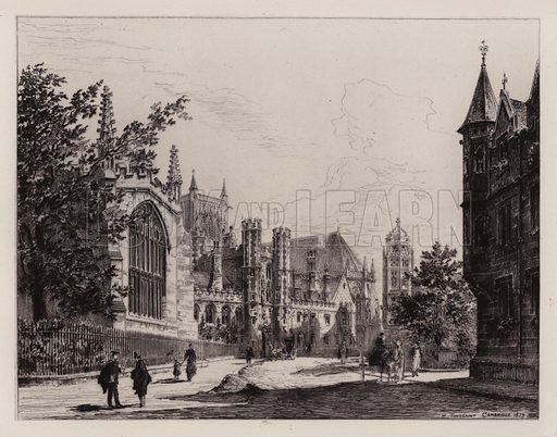 St John's College. Illustration for Cambridge by J W Clark (Seeley Jackson and Halliday, 1881).