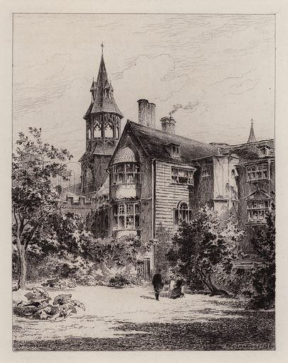 The Lodge of Queens' College. Illustration for Cambridge by J W Clark (Seeley Jackson and Halliday, 1881).