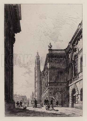 The Senate House and University Library. Illustration for Cambridge by J W Clark (Seeley Jackson and Halliday, 1881).