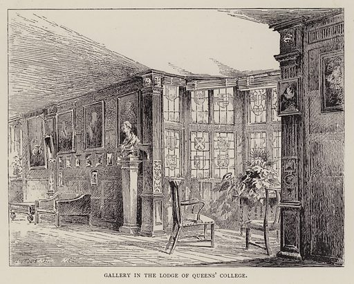 Gallery in the Lodge of Queens' College. Illustration for Cambridge by J W Clark (Seeley Jackson and Halliday, 1881).