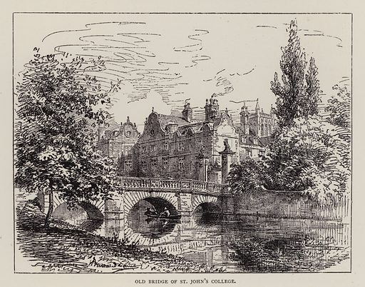 Old Bridge of St John's College. Illustration for Cambridge by J W Clark (Seeley Jackson and Halliday, 1881).