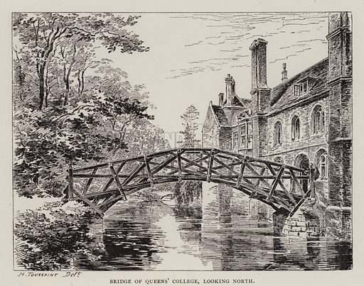 Bridge of Queens' College, looking North. Illustration for Cambridge by J W Clark (Seeley Jackson and Halliday, 1881).