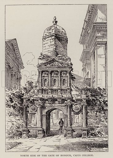 North Side of the Gate of Honour, Caius College. Illustration for Cambridge by J W Clark (Seeley Jackson and Halliday, 1881).