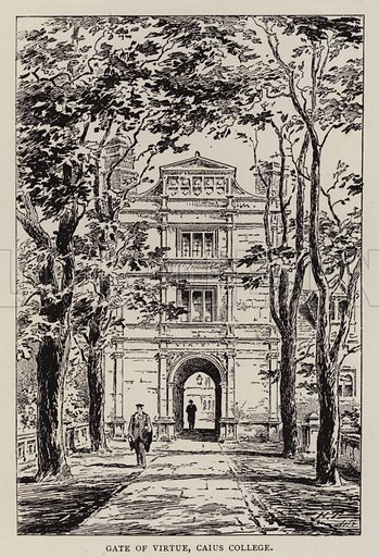 Gate of Virtue, Caius College. Illustration for Cambridge by J W Clark (Seeley Jackson and Halliday, 1881).