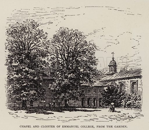 Chapel and Cloister of Emmanuel College, from the Garden. Illustration for Cambridge by J W Clark (Seeley Jackson and Halliday, 1881).